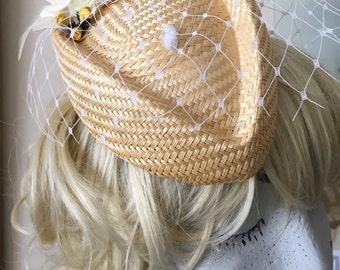 Lemon straw pill box hat white yellow flower net feather trim 40s style