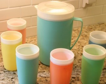 Vintage 1960s Bolero Therm-o-ware Insulated Tumbler Set of 6 with Pitcher Thermoware Aqua Turquoise Pink Sorbet Sherbet Spring Pastel Tones