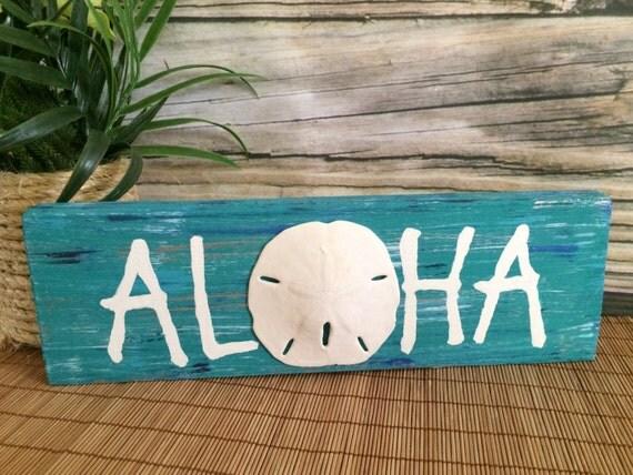 Aloha Wood Sign Rustic Wood Sign Hawaiian Beach Sign Wooden