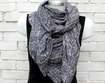 Cowl scarf, shawl, pashmina, triangle scarf, wrap, Viscose,Black & white geometric pattern , extra large. Womens, Wife gift, gift for her.