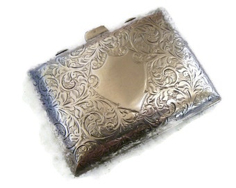 Antique English Sterling Silver Cigarette Case and Compact, Engraved, Hallmarked, circa 1910