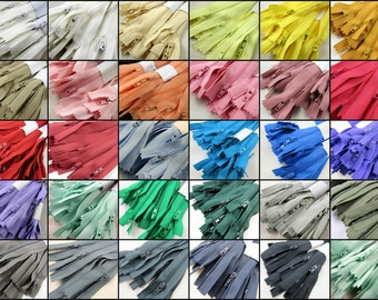 """10 x 9"""" Closed End Nylon Zips - Assorted Colors - Free UK 1st Class P&P"""