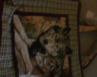shopping bag or tote picture of beautiful Wolf line to be reversible