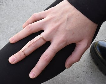 Double rose gold chain ring  - rollo chain ring - adjustable rose double ring  - chain double ring - midi ring - rose gold slave ring