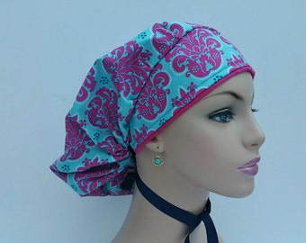 Bouffant Cap / Ponytail surgical Cap - Hot Pink Damask Flowers - 100% cotton