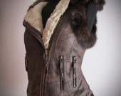 Distressed Brown leather biker vest leather tribal biker jacket recycled mink  fur waistcoat with faux fur SELKIE