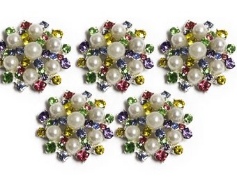 Pearl and Rhinestone Buttons, metal - Pearl Sunburst Button - MEDIUM 26mm -set of five - rainbow