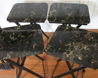 4 Mid Century Artex Folding Wood and Faux Marble Tables // Set of 4 // Side Tables