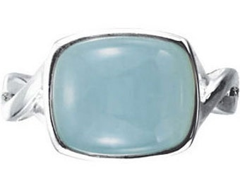 925 Sterling Silver 12x10 mm Genuine Milky Aquamarine Ring Size 8