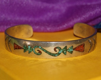 TURQUOISE CORAL INLAY Cuff Navajo Sterling c1970