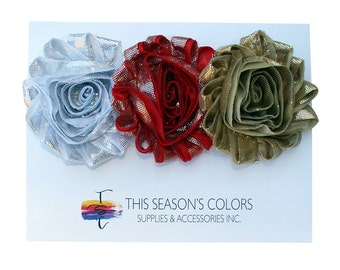 Metallic Shabby Rose Flower Hair Clips or Ponytail Holders, Set of Three:  Silver, Red & Gold
