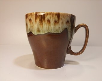 Vintage 1960s USA Brown Drip Lava Glaze Coffee Mug, Tea Mug, Coffee Cup, Tea Cup - Replace Your Broken Mug, Start An Eclectic Cup Collection