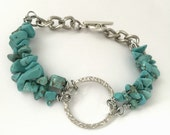 Healthy Role Models Turquoise Bracelet with Hammered Centre Ring