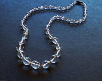 """1930s FACETED CRYSTAL NECKLACE - 49 Graduated Glass Beads, 8 mm to  14 mm - Knotted Between Each Bead - 24 1/4"""" (61.5 cm) Long"""