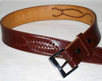 "Genuine Leather Belt Woven Scorpion Tooled Made in Mexico size 34"" Dark Brown"