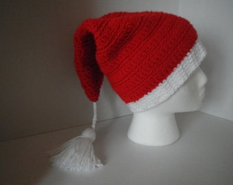 Red Santa Style Hat Hand Croched Unisex