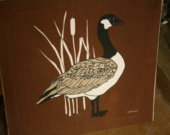 Vintage 70's Marushka Geese Screen Print, Home Decor, Fall, Home, Wall Hanging, Brown, White