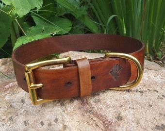 The Undomiel Collar: Timber Brown Leather Dog Collar