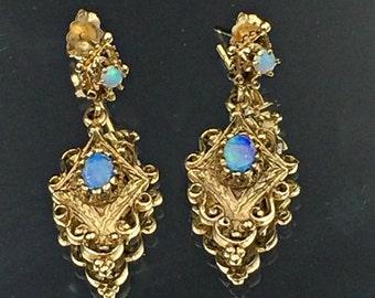 Opal 14k Gold Earrings,Antique Victorian Revival Gold Opal Earrings, Iridescent Opalescent Gem, October Birthstone, Antique Opal Earrings