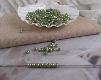 4mm Light Olivine Faux Loose Pearls ~ 250+ pieces
