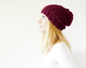 SUMMER SALE the SUMTER hat - Slouchy hat beanie crocheted - plum heather - wool