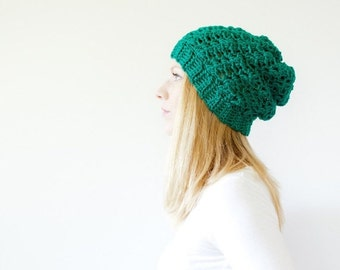 SUMMER SALE the SUMTER hat - Slouchy hat beanie crocheted - emerald - wool
