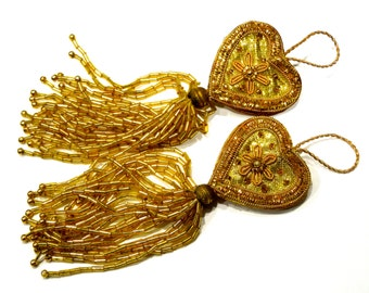 "VINTAGE: 2 Gild Bullion Beaded Tassel Heart Ornaments - Coilwork Ornaments - Heart Ornament - Tassel Ornaments - 5"" - (16-A1-00005359)"