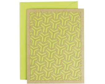 Blank Card - Kiwi Geometric Laser Cut Card