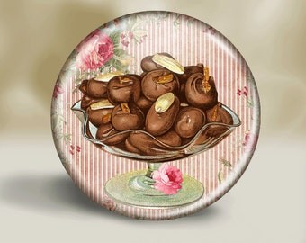 Pocket Mirror or Magnet or button - Chocolates- Mother's Day - Grandma - Nana