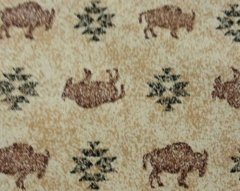 Bison Buffalo  Native American fabric, Wild WestFabric by the yard