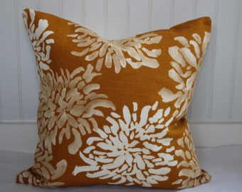 IN STOCK / Orange and Ivory Ikat Pillow Covers / 18 x 18 / in Designer Fabric