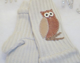 Ladies Recycled, Repurposed, Upcycled Cotton Blend Owl Sweater Mittens