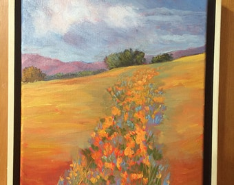 Poppy oil painting, poppy fields painting, California poppy painting,landscape oil painting, poppy painting,  field of poppies