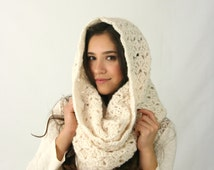Chunky Cowl Scarf THE ROCHDALE Textured Crochet Hood Scarf Fisherman