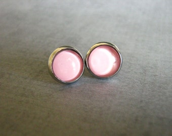 Pink Stud Earrings : Solid Color Jewelry