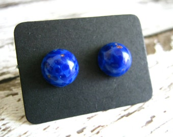 Deep Blue Stud Earrings : Mini Glass Posts