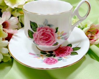 English Teacup By Royal Dover of England, Fine Bone China Footed Cup and Saucer Set Pink Roses Vintage Serving by TheSweetBasilShoppe