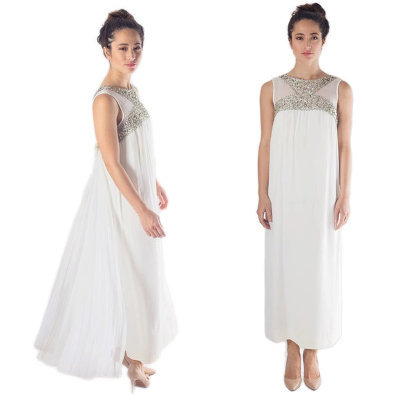 70s Vintage White Chiffon Train Maxi Evening Wedding  beaded sequence empire waist bridal