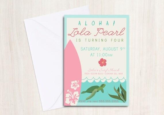 Luau Surf Party Birthday Invite - Sea Turtle Party Invitation - Hawaiian Beach Party  - Party Supplies