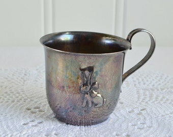 Seventies baby drinking cup, vintage Danish silver plate, tarnished baptism mug, please view details
