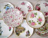 Set of 8 Mismatched Saucers, Shabby Chic Interior Decor, Vintage Wedding, English Bone China