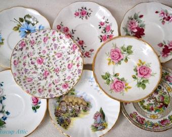 Set of 8 Mismatched Saucers, Shabby Chic Interior Decor, Vintage Wedding, English Bone China