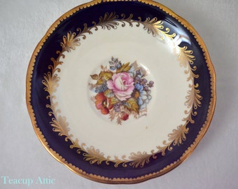 Aynsley Cobalt Blue Signed By The Artist, JA BAILEY, English Bone China Saucer, Replacement Saucer Only, ca. 1939