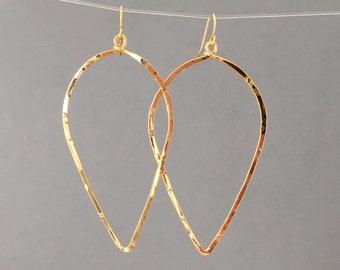 Gold Hammered Petal Teardrop Hoop Earrings