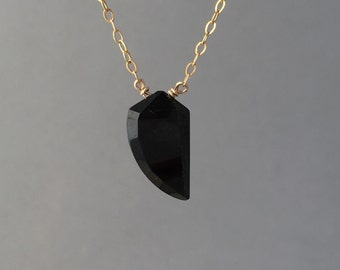Black Spinel Tusk Gold Necklace also in Silver and Rose Gold