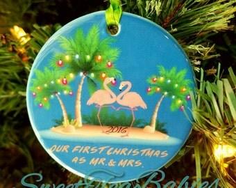 Flamingo ornament, newlywed ornament, Christmas ornament for newlyweds, wedding gift, flamingos, flamingo Christmas ornament