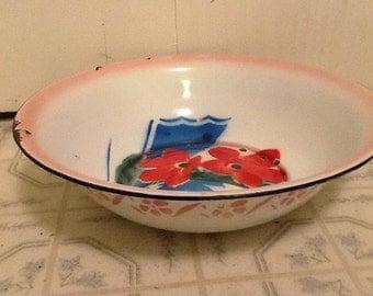Enamelware Pan Flowered Wash Basin