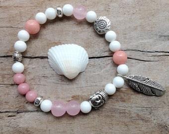 feather bracelet, buddha bracelet, beachcomber bohemian bracelets, shell jewelry