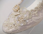 Champagne Wedding Flats Shoes Lace Vintage Modern inspired, Old Hollywood, Great Gatsby Style, Art Devo Nouveau, Romantic, Renaissance