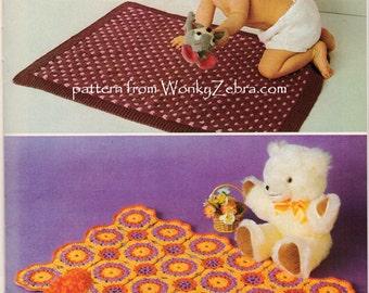 Vintage knitting and Crochet baby blanket Patterns PDF B110 from WonkyZebra